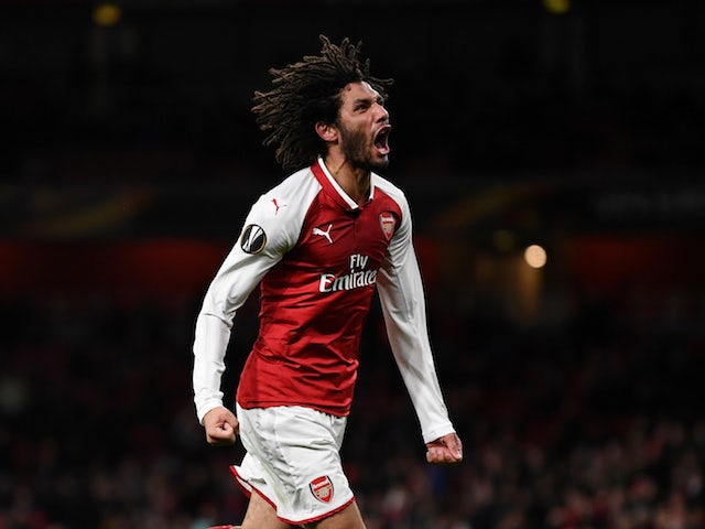Mohamed Elneny in action for Arsenal in the Europa League on December 7, 2017