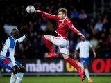 Denmark's Nicklas Bendtner competes with Panama's Felipe Baloy on March 22, 2018