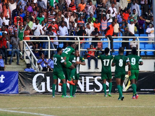 Nigeria celebrate after scoring against Swaziland during qualifying for the 2018 World Cup