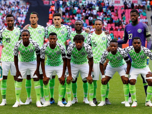 The Nigerian team lines up ahead of the World Cup warm-up match with England at Wembley on June 2, 2018