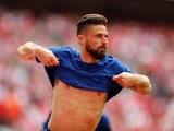 Olivier Giroud in action for Chelsea in the FA Cup on April 22, 2018