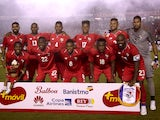 The Panama team lines up ahead of their World Cup warm-up game with Northern Ireland in May 2018