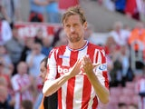 Peter Crouch in action for Stoke City as they tumble out of the Premier League on May 5, 2018