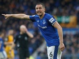 Everton's Phil Jagielka gestures during the game against Brighton & Hove Albion on March 10, 2018