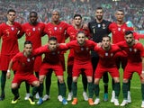 The Portugal team lines up before their international friendly with Algeria on June 7, 2018