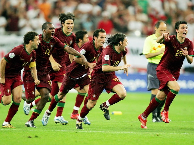 Portugal players react after beating England on penalties in the 2006 World Cup quarter-final