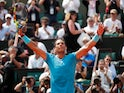 Rafael Nadal celebrates reaching the next round of the French Open on June 4, 2018