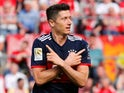 Bayern Munich's Robert Lewandowski celebrates scoring their second goal against Koln on May 5, 2018