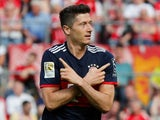 Bayern Munich's Robert Lewandowski celebrates scoring their second goal against Koln on May 5, 2018