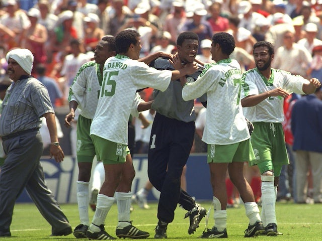 Saudi Arabia celebrate victory over Belgium at the 1994 World Cup