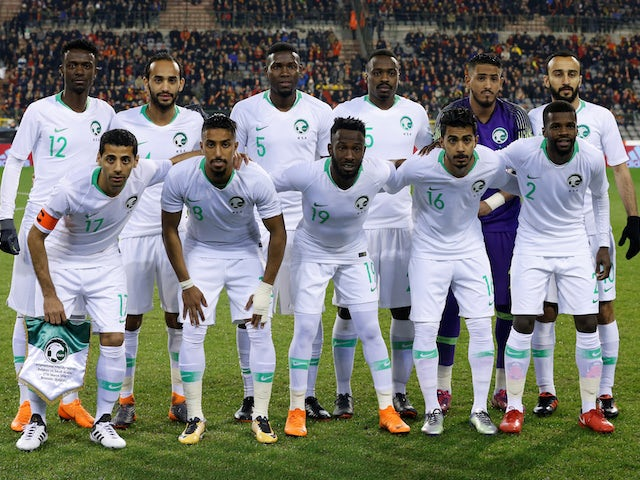 The Saudi Arabian team lines up ahead of an international friendly in March 2018