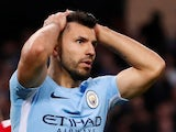 Manchester City's Sergio Aguero reacts after a missed chance against Manchester United on April 7, 2018