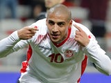 Tunisia's Wahbi Khazri celebrates scoring their first goal against Costa Rica on March 27, 2018