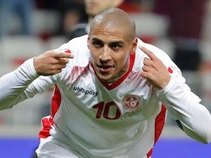 Tunisia's Wahbi Khazri celebrates scoring their first goal against Costa Rica on March 27, 2018