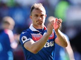 Stoke City's Xherdan Shaqiri applauds their fans after the match against Swansea City on May 13, 2018