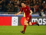 Roma's Alessandro Florenzi celebrates at the end of the match against Barcelona on April 10, 2018