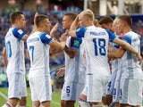 Alfred Finnbogason celebrates with teammates after equalising during the World Cup group game between Argentina and Iceland on June 16, 2018
