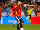 Andres Iniesta in action for Spain on November 11, 2017