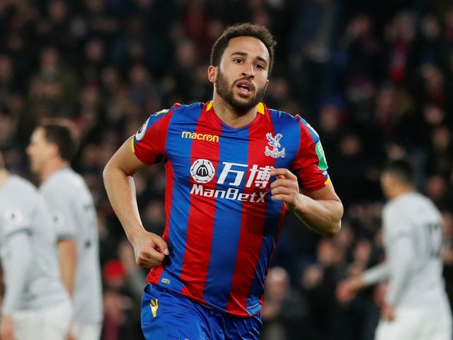 Crystal Palace's Andros Townsend celebrates scoring their first goal in the game against Manchester United on March 5, 2018