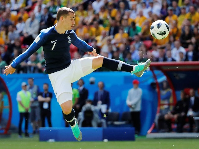 Antoine Griezmann in action during the World Cup group game between France and Australia on June 16, 2018
