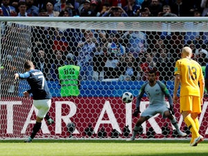 Antoine Griezmann scores from the spot during the World Cup group game between France and Australia on June 16, 2018