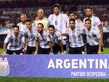 The Argentina team line up before their friendly game with Haiti on May 29, 2018