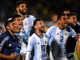 Lionel Messi celebrates with his Argentina teammates after clinching qualification for the 2018 World Cup