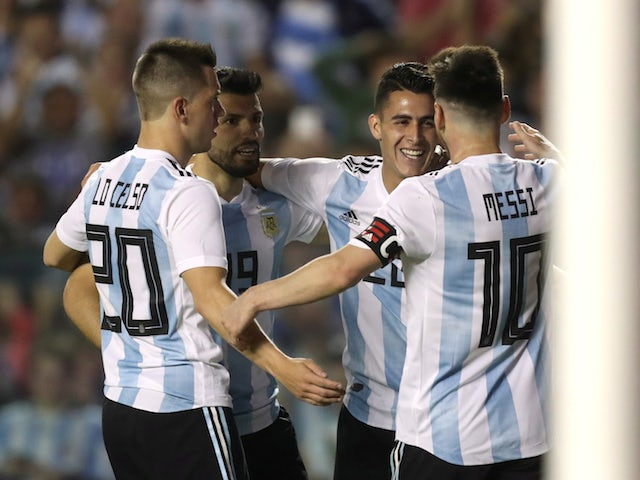 Argentina players celebrate during their international friendly with Haiti in June 2018