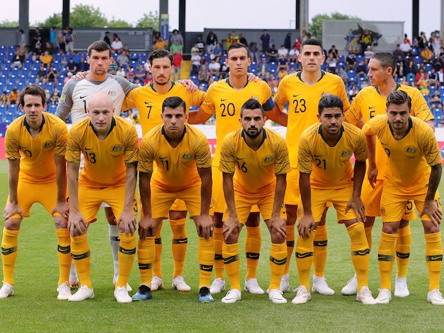The Australia team line up before their friendly with the Czech Republic on June 1, 2018