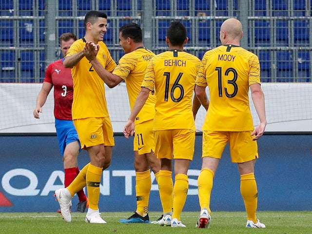 Australia's players celebrate scoring during their international friendly with Czech Republic on June 1, 2018