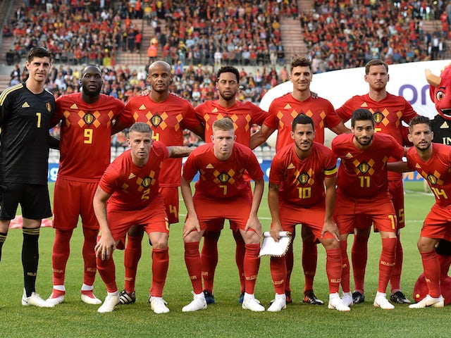 The Belgium team line up before their friendly game with Portugal on June 2, 2018