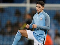 Manchester City youngster Brahim Diaz warms up on November 21, 2017
