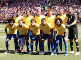 The Brazil team line up before their friendly game with Croatia on June 3, 2018