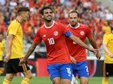Costa Rica's Bryan Ruiz celebrates scoring their first goal in the friendly against Belgium on June 11, 2018