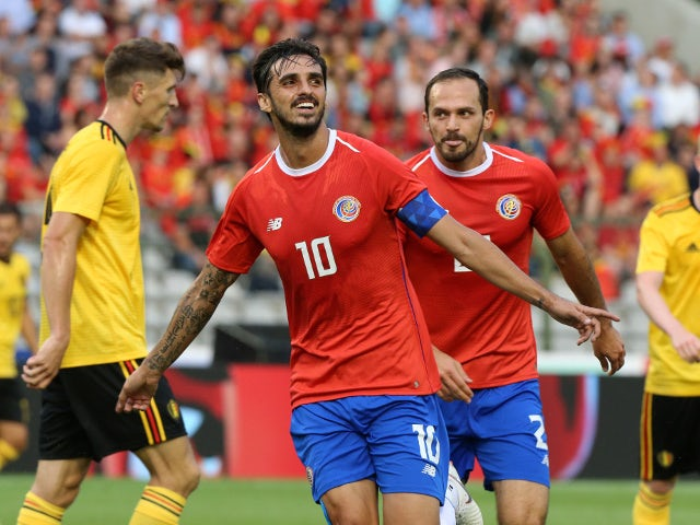 Costa Rica's Bryan Ruiz celebrates scoring their first goal in the friendly against Belgium on June 11, 2018