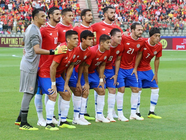 The Costa Rica team line up before their friendly game with Belgium on June 11, 2018