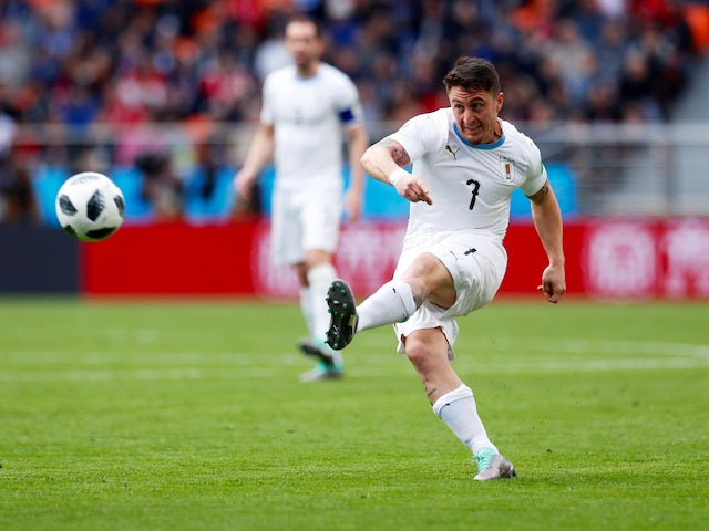 Cristian Rodriguez takes a shot during the World Cup game between Egypt and Uruguay on June 15, 2018