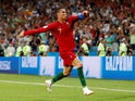 Cristiano Ronaldo grabs his third during the World Cup group game between Portugal and Spain on June 15, 2018