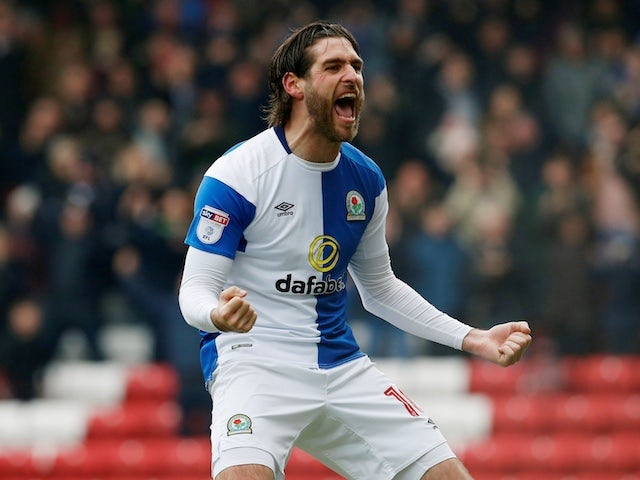 Blackburn Rovers forward Danny Graham celebrates during his side's League One clash with Wigan Athletic in March 2018