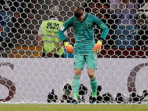 David de Gea looks downbeat during the World Cup group game between Portugal and Spain on June 15, 2018