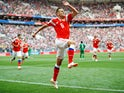 Russia's Denis Cheryshev celebrates after scoring during his side's World Cup Group A clash with Saudi Arabia at the Luzhniki Stadium in Moscow