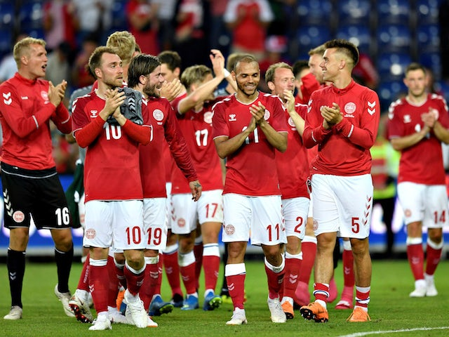 Denmark's players celebrate following their 2-0 win over Mexico in a World Cup warm-up match in June 2018
