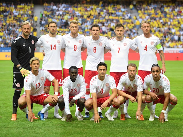The Denmark squad line up before their friendly with Sweden on June 2, 2018