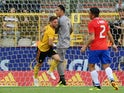 Belgium's Dries Mertens celebrates scoring their first goal in the friendly against Costa Rica on June 11, 2018