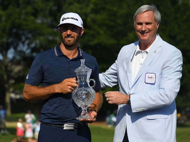 Dustin Johnson celebrates winning the St Jude's Classic on June 10, 2018