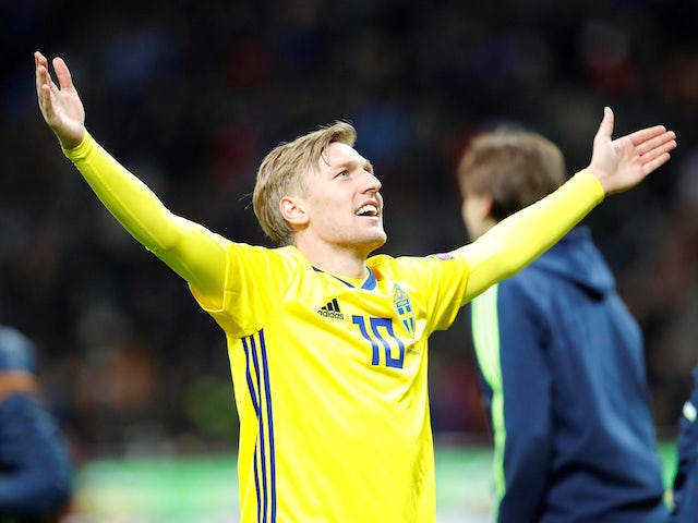 Emil Forsberg in action for Sweden on November 13, 2017