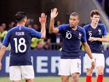 Nabil Fekir and Kylian Mbappe of France celebrate after scoring the opening goal of their international friendly with USA in June 2018