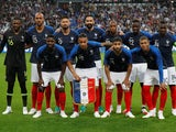 The France team line up ahead of their friendly game with the Republic of Ireland on May 28, 2018