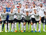 The Germany team line up before their friendly game with Saudi Arabia on June 8, 2018