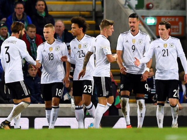 Germany players celebrate during a World Cup qualifier with Northern Ireland in October 2017